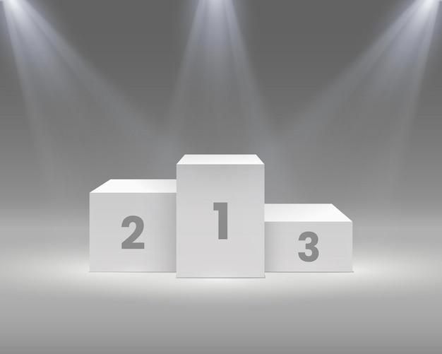 Pódio do vencedor. pedestal branco com holofotes, palco vazio para os vencedores da cerimônia de premiação, vitória do esporte, ilustração vetorial realista. obtendo o troféu de primeiro, segundo e terceiro lugar