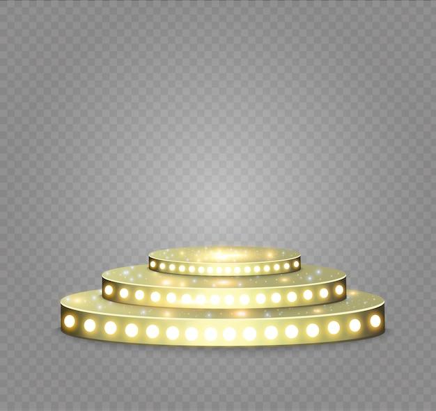Pódio dourado em um fundo transparente. o pódio dos vencedores com luzes brilhantes. luz. iluminação. illustration.attention.