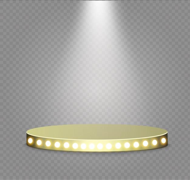 Pódio dourado em um fundo transparente. o pódio dos vencedores com luzes brilhantes.