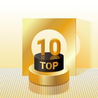 Pódio dourado realista dos 10 melhores