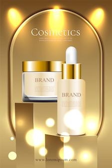 Pódio e cartaz de promoção cosmética de luxo dourado
