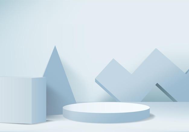 Pódio e cena azuis mínimos com renderização em 3d na composição de fundo abstrato ilustração 3d simulada para formas de plataforma de forma de geometria de cena para estágio de exibição de produto para produto moderno
