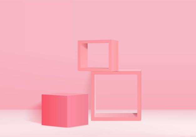 Pódio e cena rosa mínimos com vetor de renderização 3d na composição abstrata de fundo