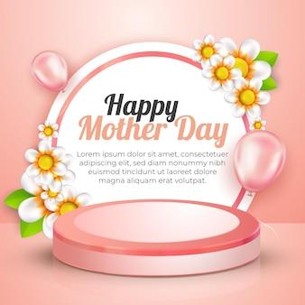 Pódio e flores 3d moderno do dia das mães