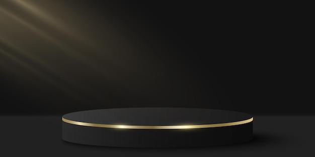 Pódio elegante com efeito de luz para mostrar seu produto. cilindro 3d em fundo preto. plataforma ou palco luxuoso. maquete para apresentação de moda. vetor