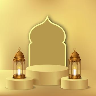 Pódio elegante de luxo no ramadã e decoração com lanterna dourada 3d