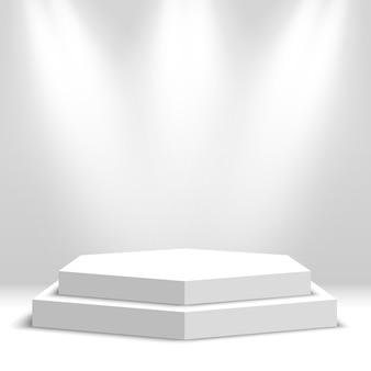 Pódio em branco branco. pedestal. cena. ilustração.