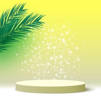 Pódio em branco com folhas de palmeira pedestal redondo plataforma de exibição de produtos cosméticos palco de renderização em 3d