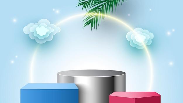 Pódio em branco com nuvens e folhas de palmeira com plataforma de exibição de produtos cosméticos