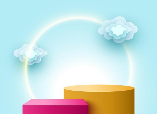 Pódio em branco com nuvens pedestal produtos cosméticos expositor plataforma estande de exposição