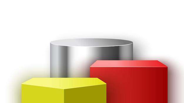 Pódio em branco com. stand de exposição. pedestal. ilustração vetorial