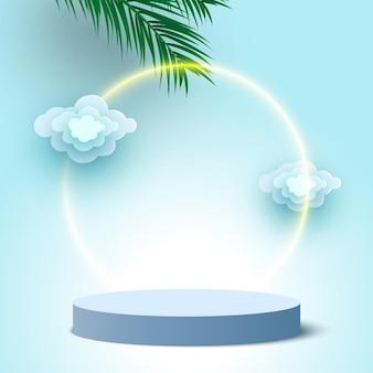 Pódio em branco redondo azul com nuvens e folhas de palmeira pedestal de plataforma de exibição de produtos cosméticos