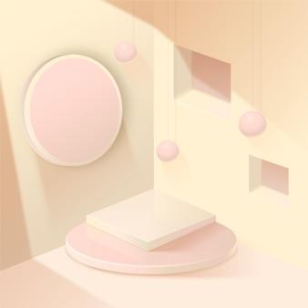 Pódio em forma de 3d com diferentes elementos