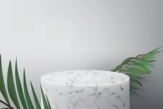 Pódio em mármore branco para demonstração do produto. fundo cinza com folhas de palmeira verdes e um pedestal vazio para a exibição de cosméticos.