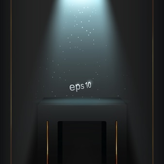 Pódio em um quarto escuro com luz de fundo azul.