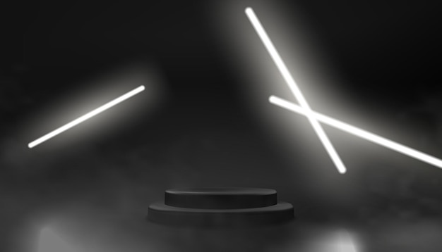 Pódio escuro e vazio com luzes de néon brilhantes