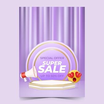 Pódio geométrico mínimo com cortina promoção de vendas de pôster 3d