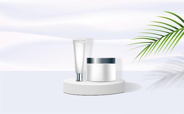 Pódio geométrico. produtos cosméticos