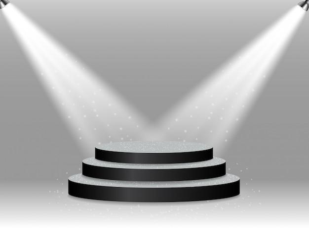 Pódio iluminado colorido para prêmios e performances iluminadas por holofotes brilhantes.