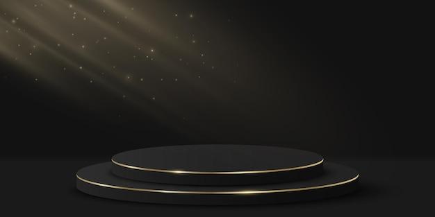 Pódio luxuoso minimalista com efeito de luz para mostrar o seu produto. cilindro 3d em fundo preto. plataforma ou cenário. maquete para apresentação de moda. vetor