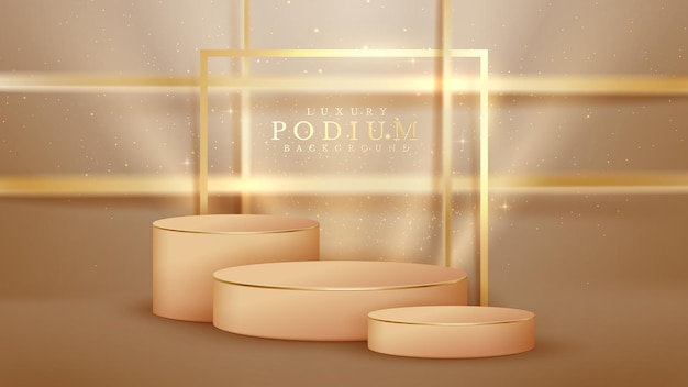 Pódio marrom e elementos de linhas douradas cintilantes, estilo de luxo 3d realista.