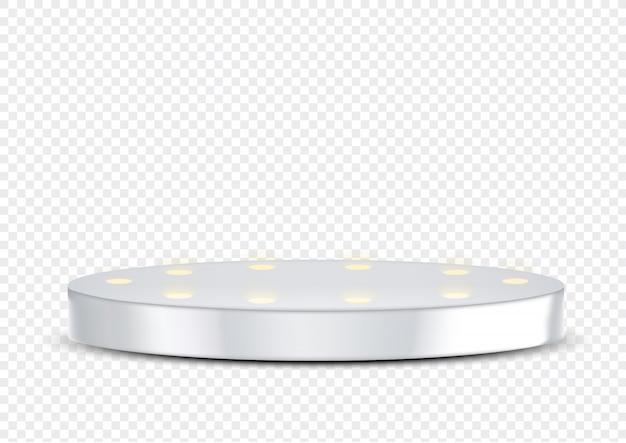 Pódio metálico realístico da fase do prêmio 3d e holofotes para o evento mostram o produto