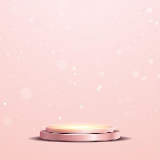 Pódio metálico rosa dourado elegante com refletor e luzes bokeh