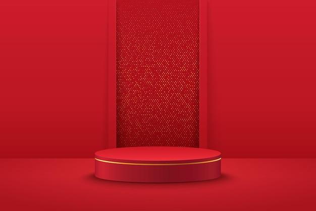 Pódio moderno do cilindro vermelho e dourado com sala vazia.