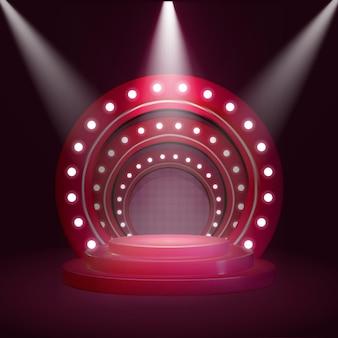 Pódio no palco com lanterna iluminadora para a cerimônia de premiação. pedestal redondo para o vencedor com raios de holofotes, plataforma vazia para apresentação, performance ou show em ilustração vetorial de clube noturno