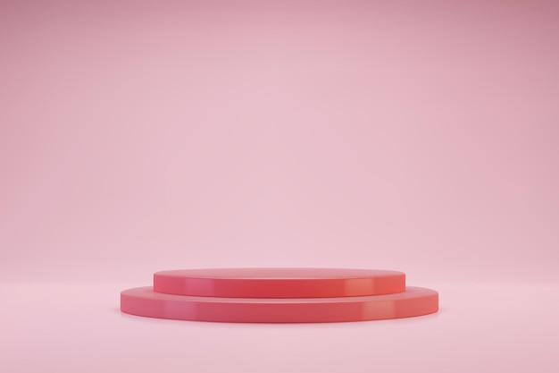 Pódio ou pedestal 3d de cilindro duplo rosa pastel em fundo rosa claro