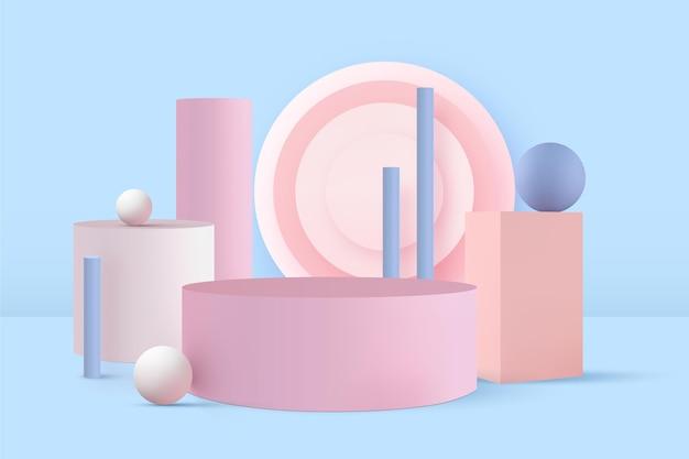Pódio pastel em efeito 3d