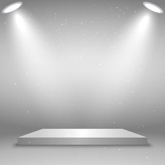 Pódio quadrado branco. plataforma iluminada por holofotes