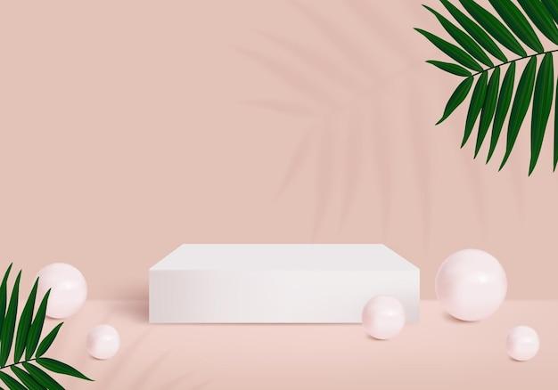 Pódio quadrado com folha e bola para produto show