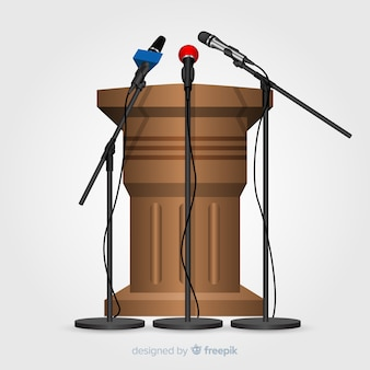 Pódio realista com microfones para conferência