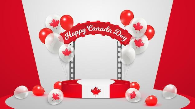 Pódio realista do feliz dia do canadá com balões