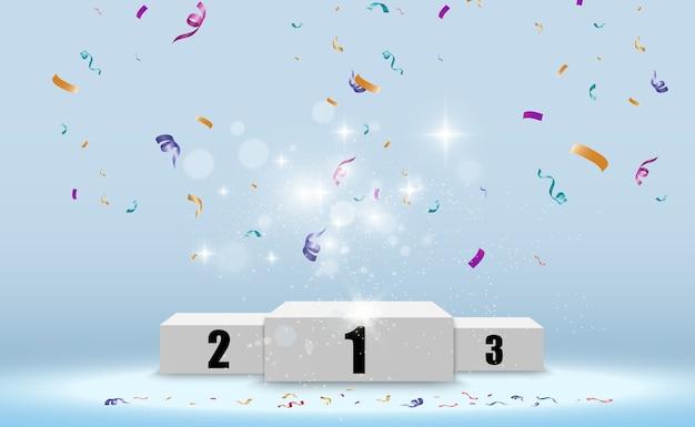 Pódio realista ou plataforma de vencedores. pedestal com confete em um fundo branco.