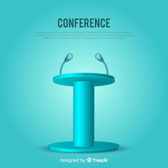 Pódio realista para fundo azul de conferência