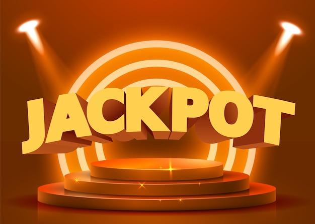 Pódio redondo abstrato iluminado com holofotes. conceito de jackpot do cassino. cenário do palco. ilustração vetorial