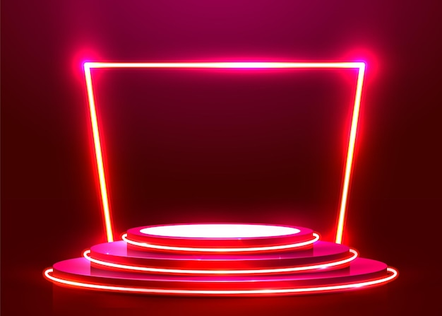 Pódio redondo abstrato iluminado com holofotes e néon. conceito de cerimônia de premiação. cenário do palco. ilustração vetorial