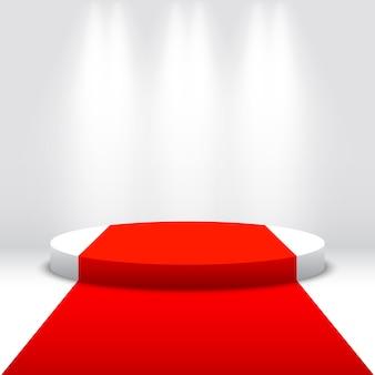 Pódio redondo branco com tapete vermelho e holofotes. pedestal. cena. ilustração.