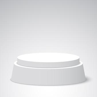Pódio redondo branco. pedestal. cena. ilustração.