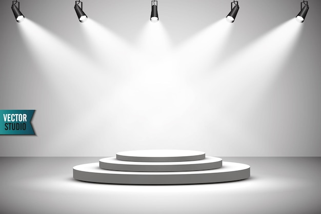 Pódio redondo branco. pedestal. cena. .