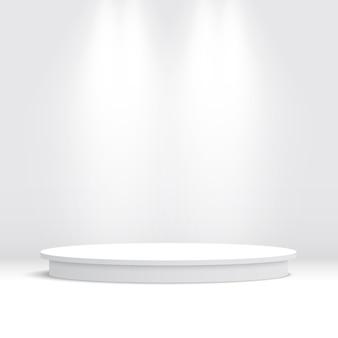 Pódio redondo branco. pedestal. cena.