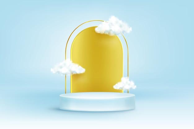 Pódio redondo com arco dourado e nuvens brancas