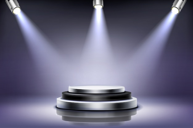 Pódio redondo com iluminação de destaque
