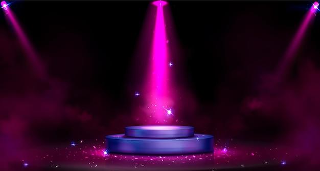 Pódio redondo com iluminação de holofotes, fumaça e faíscas
