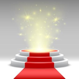 Pódio redondo com tapete vermelho e luzes. pedestal. etapa.