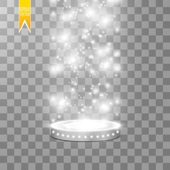 Pódio redondo de efeitos de luz de cena