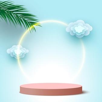 Pódio redondo em branco com nuvens e folhas de palmeira pedestal de plataforma de exibição de produtos cosméticos