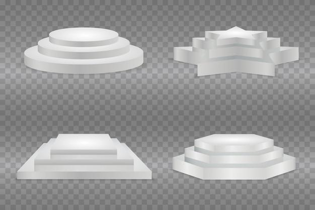 Pódio redondo, isolado em um fundo transparente. pedestal 3d. ilustração. pronto para o seu design.